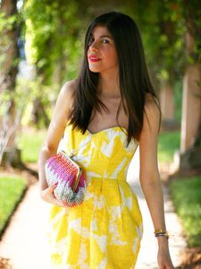Shoshanna Strapless Yellow Dress