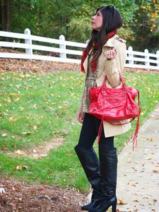 Khaki Trench Coat with Gold and Red Accessories