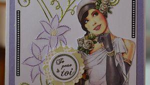 Carte rétro brodée aux iris