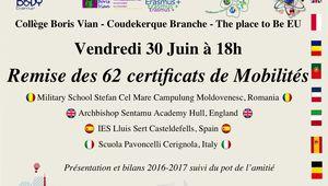 Remise officielle des certificats de mobilités Erasmus+