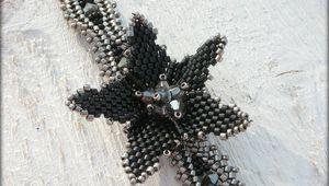 Collier tissé Noir et Nickel Plated * Cristal Swarovski * Cabochon Black Onyx
