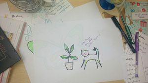 Gatos y lápices de colores