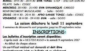 Inscriptions Gym Volontaire
