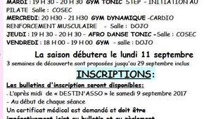 Inscriptions Gym Volontaire