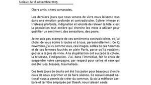 Lettre de Cécile Cukierman aux adhérents suite aux attentats de Paris