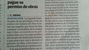 Ada Colau quiere cobrar el permiso de obras a la Sagrada Familia