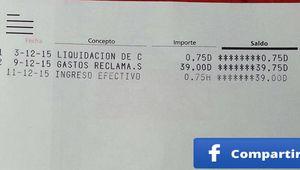 El Banco Santander cobra 39 euros por un descubierto de 75 céntimos