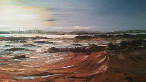 Éclaircie sur la baie de Morlaix, huile et couteau sur toile 65x50