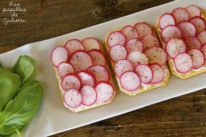 ▲ Tartines de radis roses au cream-cheese ▲