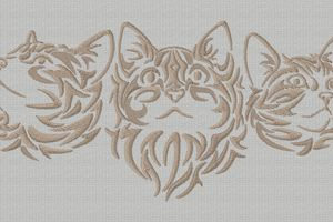 3 chats grande broderie