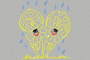 des champignons sous la pluie