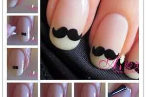 Nails arts moustache