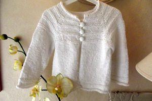"""""""Blanche Neige """" Cardigan en coton rustique au tricot top-down, sweater"""