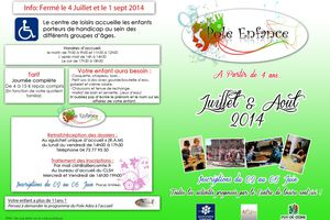INSCRIPTION ETE 2014 DU 2 AU 6 JUIN DE 14H A 19H