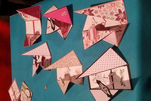 Atelier  scrapbooking lors de mon exposition: carte asymétrique et garniture de boîte à moichoir