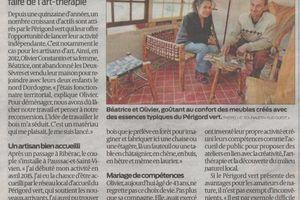 """Article de """"SUD OUEST"""" du 22 mars 2016 sur les activités d'Olivier Constantin (Créateur de meubles en branches, O Création Bois) et Béatrice Constantin-Mora (Art-thérapeute analytique) en Périgord Vert"""