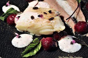 Poisson Confit à l'Huile d'Olive Vanillée, Ecume Gingembre et Fleur d'Oranger