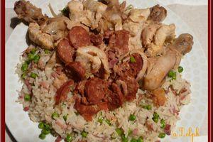 Poulet au riz et petits pois