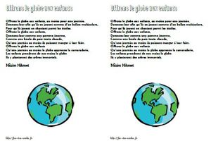 Offrons le globe aux enfants - Nâzim Hikmet CP-CE1-CE2-CM1-CM2