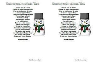 Chanson pour les enfants l'hiver - Jacques Prévert - CP-CE1-CE2-CM1-CM2