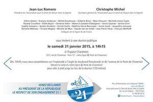 L'ADMD vous invite à un rassemblement et une réunion publique à Paris le 31 janvier 2015