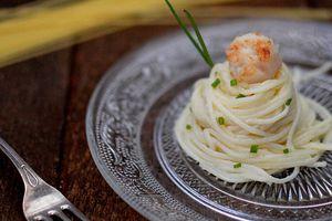Spaghettis, sauce Noix de Saint Jacques - Parmesan