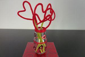 Bouquet de coeur en tricotin