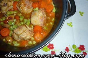 Paupiettes de veau , fèves et carottes