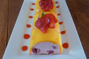 terrine en mousse de fruit,mangue,fraises,framboises
