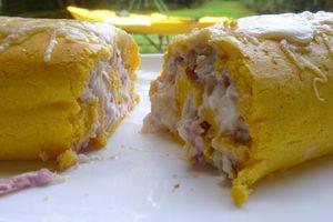 roulé de potiron garniture oignons,bacon,gruyère,noix