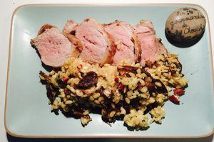 Filet migon de porc et risotto crémeux aux cèpes et noisettes de Lignac
