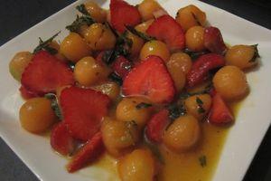 Billes de melon caramélisées à la verveine