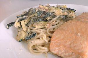 Spaghetti courgette citron et basilic