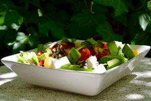 Salade complète quinoa, lentilles, avocat