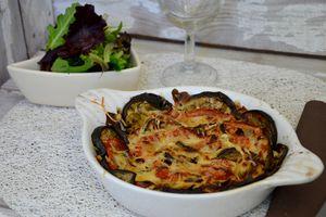 Gratin d'aubergine et tomate à la béchamel