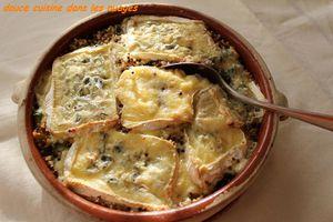 Quinoa et courgette gratinés au Bresse Bleu