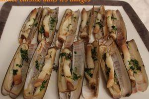 Couteaux de mer au beurre gingembre et coriandre