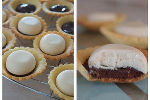 Mini tartelettes au chocolat et mousse au caramel beurre salé