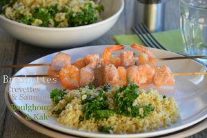Brochettes de saumon et crevettes - Boulghour et kale