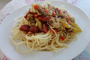 Spaghettis aux aubergines et au chorizo