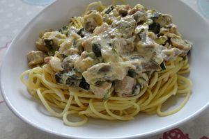 Spaghettis sauce aux courgettes et rôti de porc