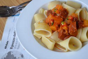 Calamarato à la courge butternut et chorizo