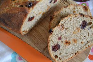 Pain pour le petit déjeuner, au levain, épices à pain d'épices, raisins et cranberries
