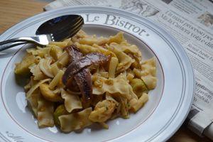 Pâtes aux choux de Bruxelles et anchois