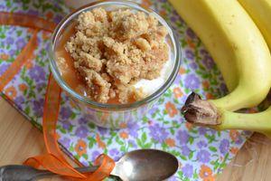 Dessert à la banane fromage blanc et caramel