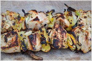 Brochettes de Poulet à la Grecque marinade citron, origan, ail BBQ