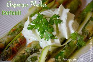 Asperges Vertes panées au Parmesan et Emulsion de Cerfeuil