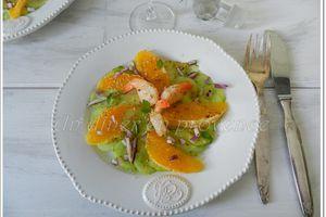 Salade de crevettes, oranges et concombre