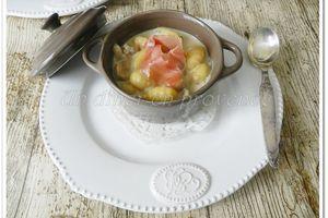 Gnocchis à la crème de gorgonzola et chiffonnade de jambon cru
