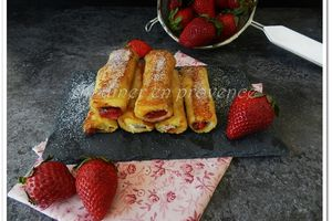 "Pain perdu roulé fraise/Nutella© ""french toast roll ups """